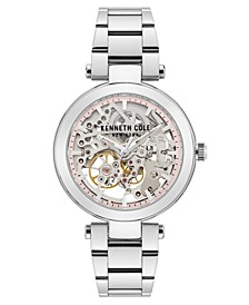 Ladies' Stainless Steel Bracelet with Skeleton Automatic Dial, 38MM