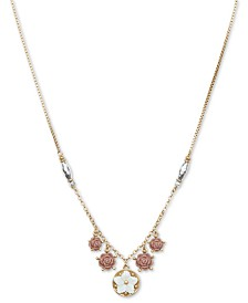 "Lucky Brand Two-Tone Multi-Flower 30-1/2"" Necklace"