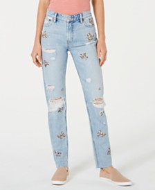 Lucky Brand Sienna Embellished Ripped Slim Boyfriend Jeans
