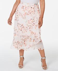 Calvin Klein Plus Size Floral-Print Maxi Skirt
