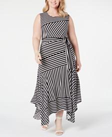 Calvin Klein Plus Size Striped Handkerchief-Hem Maxi Dress
