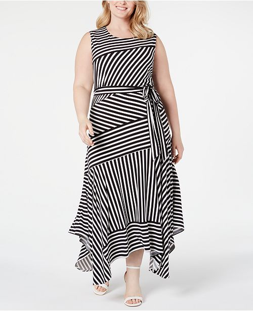 Calvin Klein Plus Size Striped Handkerchief-Hem Maxi Dress ...