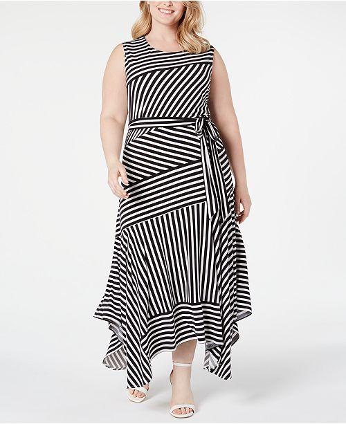 Calvin Klein Plus Size Striped Handkerchief-Hem Maxi Dress & Reviews ...