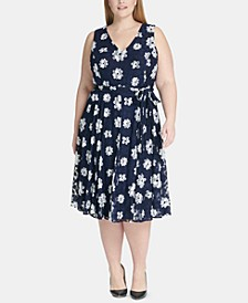 Plus Size Belted Floral Fit & Flare Dress