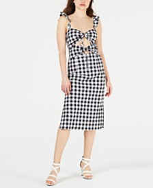 LEYDEN Cutout Gingham Midi Dress