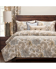 Isabella Natural Floral 6 Piece Cal King High End Duvet Set