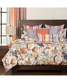 Summer Set Peach 6 Piece Queen Luxury Duvet Set
