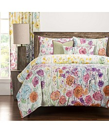Whimsical Wildflowers 6 Piece Queen Luxury Duvet Set