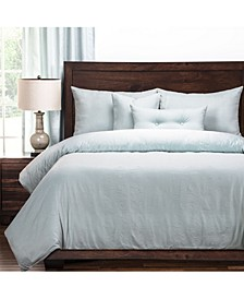 Gateway Sea Blue Embossed 6 Piece Full Size Luxury Duvet Set