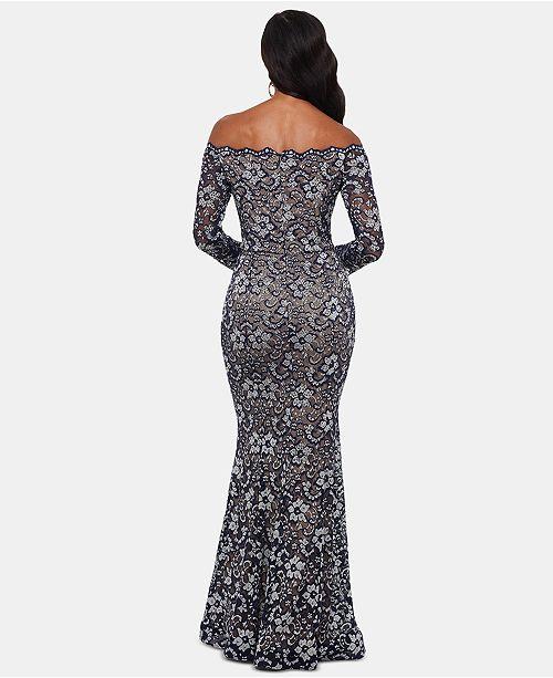 f7883eb5 XSCAPE Petite Lace Off-The-Shoulder Gown & Reviews - Dresses ...