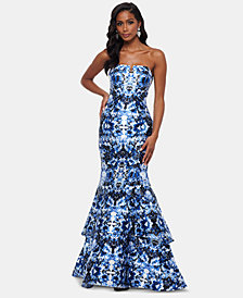 XSCAPE Strapless Double-Tier Printed Gown
