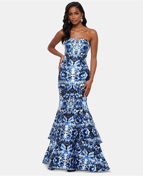 ebabdb82 XSCAPE Strapless Double-Tier Printed Gown & Reviews - Dresses ...
