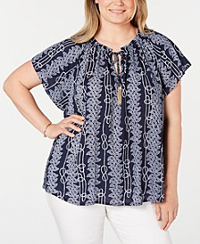 Plus Size Rope-Print Top, Created for Macy's