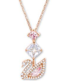 "Swarovski Rose Gold-Tone Crystal Iconic Swan Pendant Necklace, 14-7/8"" + 2"" extender"