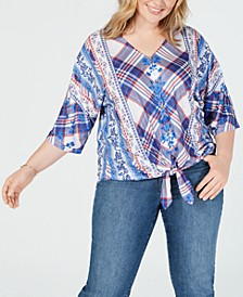 Plus Size Style & Co Printed Tie-Front Top, Created for Macy's