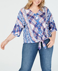 Style & Co Plus Size Style & Co Printed Tie-Front Top, Created for Macy's