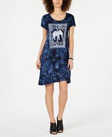 Style & Co Graphic-Print Tie-Dye Dress, Created for Macy's