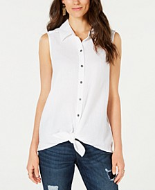 Petite Tie-Front Button-Up Top, Created for Macy's