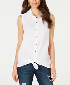 Style & Co Cotton Tie-Front Button-Up Top, Created for Macy's