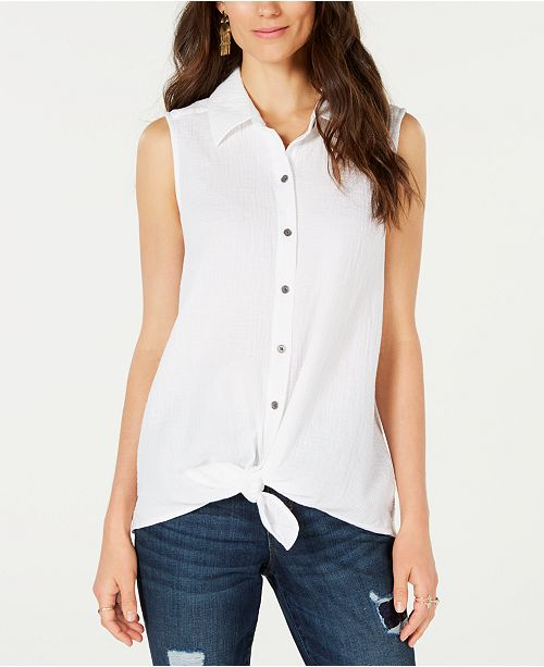 Style & Co Petite Tie-Front Button-Up Top, Created for Macy's
