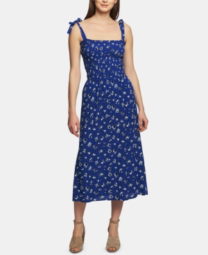 1.state Dresses FLORAL-PRINT SMOCKED-BODICE MIDI DRESS