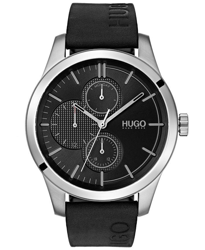 HUGO - Men's #Discover Black Leather Strap Watch 46mm