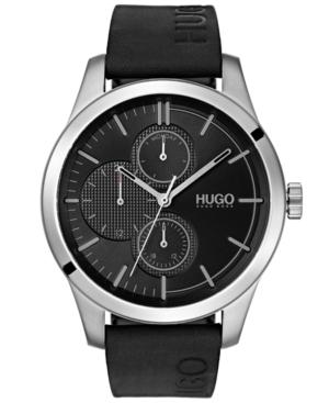 Hugo Men's #Discover Black Leather Strap Watch 46mm