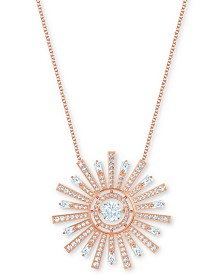 "Swarovski Rose Gold-Tone Crystal Sunshine Pendant Necklace, 30-5/8"" + 2"" extender"