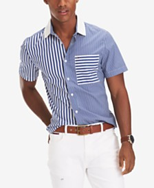 Tommy Hilfiger Men's Mateo Custom-Fit Stretch Colorblocked Stripe Shirt