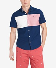 7c612072e29 Tommy Hilfiger Men's Nathan Custom-Fit Stretch Colorblocked Oxford Shirt