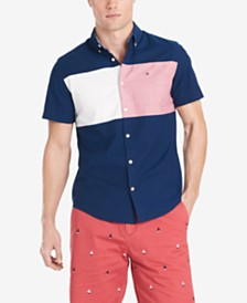 Tommy Hilfiger Men's Nathan Custom-Fit Stretch Colorblocked Oxford Shirt