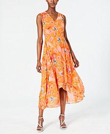 Calvin Klein Floral-Print High-Low Wrap Maxi Dress