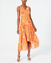 6e51103d48f Calvin Klein Floral-Print High-Low Wrap Maxi Dress