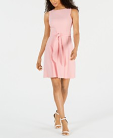 Anne Klein Striped Belted Fit & Flare Dress
