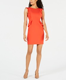 Anne Klein Flutter-Sleeve Crepe Sheath Dress