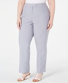 Anne Klein Plus Size Striped Seersucker Pants