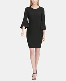 Calvin Klein Logo-Button Bell-Sleeve Dress