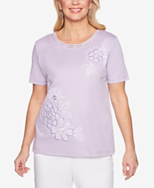 Alfred Dunner Catalina Island Embroidered Lattice-Trim Top