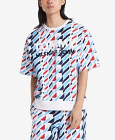 Tommy Hilfiger Denim Men's Regular-Fit Stretch Geometric-Print Logo Sweatshirt
