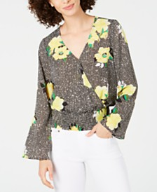 I.N.C. Mixed-Print Surplice Top, Created for Macy's