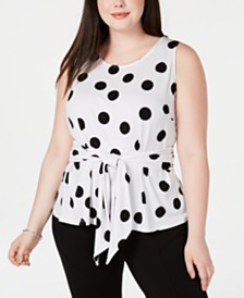 I.N.C. Plus Size Dot-Print Tie-Front Top, Created for Macy's