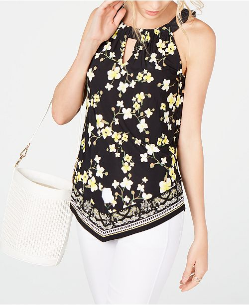 INC International Concepts INC Printed Keyhole Halter Top, Created for Macy's