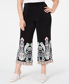 I.N.C. Plus Size Printed-Hem Cropped Pants, Created for Macy's