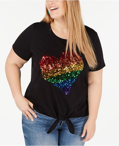 INC International Concepts I.N.C. Plus Size Pride Rainbow Sequin-Heart Top, Created for Macy's