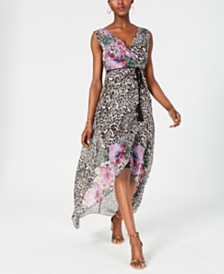 I.N.C. Petite Printed High-Low Maxi Dress, Created for Macy's