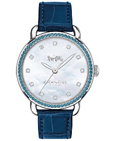 LIMITED EDITION  COACH Women's Delancey Diamond Blue Leather Strap Watch 36mm