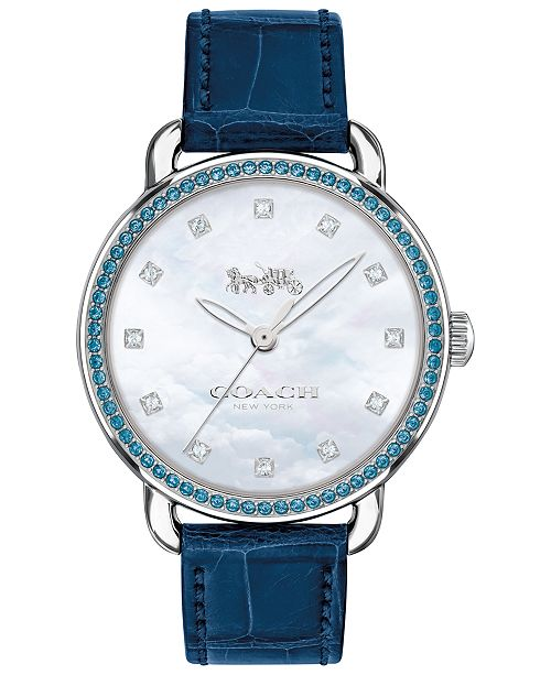 COACH LIMITED EDITION  Women's Delancey Diamond Blue Leather Strap Watch 36mm