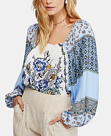 Positano Printed Peasant Top