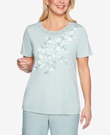 Alfred Dunner Petite Monterey Embellished Short-Sleeve Top