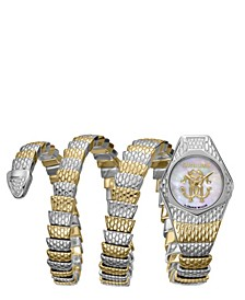 By Franck Muller Women's Diamond Swiss Quartz Two-Tone Gold Stainless Steel Snake Wrap Bracelet, 23mm